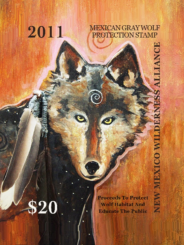 New Mexico Wolf Stamp designed by Virginia                     Maria Romero